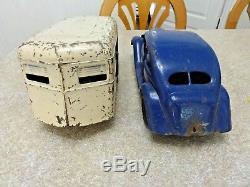Vintage Kingsbury Toys Zepher & Travel Trailer Wind Up Works! W Org. Paint
