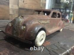 Vintage Kingsbury Windup Chrysler Airflow Pressed Steel Toy Car large