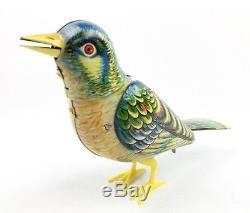 Vintage Kohler Germany Wind Up Toy Tin Singing Bird with Box & Key
