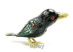 Vintage Kohler Tin Wind Up Black Crow with Key and Original Box