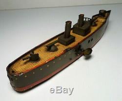 Vintage Lehmann TAKU Tin Windup Torpedo Gun Boat #671 c. 1913