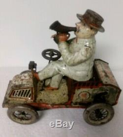 Vintage Lehmann Tin Wind Up Tut Tut Jeep Car withDriver Patented May 12 1903 Works