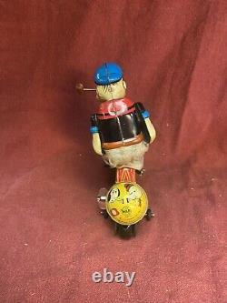 Vintage Line Mar Marx Popeye Cyclist Mechanical Tin Litho Windup