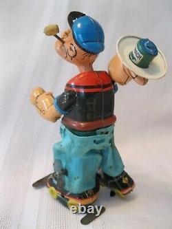 Vintage Line Mar Marx Wind Up Popeye on Rollerskates