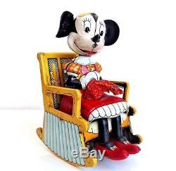 Vintage Linemar Disney Minnie Mouse Rocking Chair Tin Wind Toy