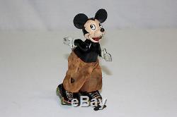 Vintage Linemar Japan Disney Tin Litho Wind Up Roller Skating Mickey VG L@@K