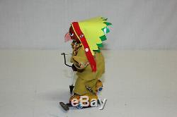 Vintage Linemar Japan Disney Tin Wind Up Roller Skating Shyanne Indian Chief EX
