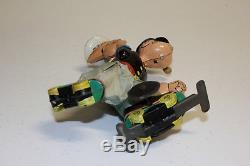 Vintage Linemar Japan Tin Litho Wind Up Roller Skating Popeye Original VG L@@K