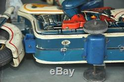 Vintage Litho Police Motorcycle MT Trademark 68345 Battery Tin Toy, Japan