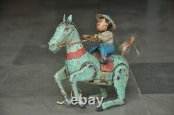 Vintage Litho Wind Up Horse Rider Colorful Tin Toy, Japan