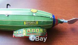 Vintage Lithograph Tin Wind Up Toy Zeppelin Paya Blimp Works Perfectly Mint