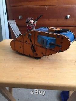 Vintage Louis Marx Co Tin Toy Wind Up Tank
