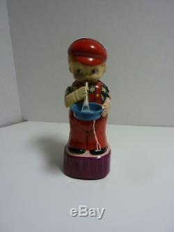 Vintage MARUSAN San Japan BUBBLE BOY Tin Wind Up Toy