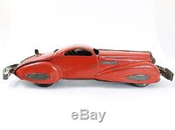 Vintage MARX Mystery Car, Red with Bumpers & Key Windup Tin Car