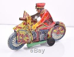 Vintage MARX SPARKLING SOLDIER MOTORCYCLE tin litho wind-up 1940s orig box WORKS