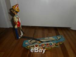 Vintage MARX Tin Litho Original 1939 Disney Pinocchio the Acrobat Wind up Toy