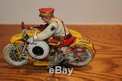 Vintage MARX USA Tin Wind Up Toy Police Motorcycle with Siren