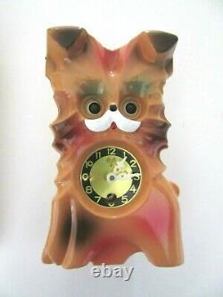 Vintage MI-KEN PETTY DOG WIND-UP WALL CLOCK WithMoving Eyes, Pendulum Key and Box