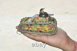 Vintage MT Trademark Litho Wind Up Fire Sparkle Military War Tank Tin Toy, Japan