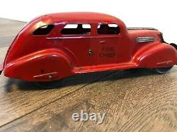 Vintage Marx 1930s Fire Chief Car with ding dong bell