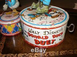Vintage Marx 1946 Tin Wind Up Disney Donald Duck Duet Goofy Dancing Toy USA