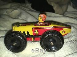Vintage Marx 5 Small Racer #4 Tin Wind Up Toy WORKING Mechanical Race Car Nice