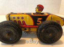 Vintage Marx Black & Yellow Indy Midget Race Car No 5 Wind Up Tin Lithograph Toy