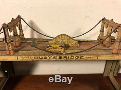 Vintage Marx Busy Bridge Tin Wind Up Toy W Vehicles