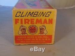 Vintage Marx Climbing Fireman In Original Box