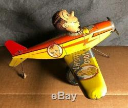 Vintage Marx Dagwood's Solo Flight Tin Wind-up Toy Very Good Condition