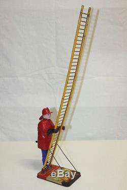 Vintage Marx Japan Tin Litho & Plastic Wind Up Climbing Fireman VG Must L@@K