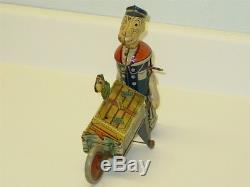 Vintage Marx Japan Tin Popeye Express, Wind Up Toy, Parrot