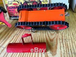 Vintage Marx Mechanical Tractor With Earth Grader & Original Box Very Very Nice