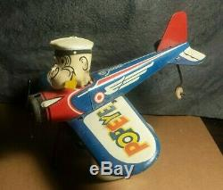 Vintage Marx Popeye The Pilot 1940s 7 Tin Windup Toy Plane Motor works