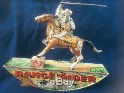 Vintage Marx RANGE RIDER Tin Litho Wind Up Toy Cowboy Western Horse