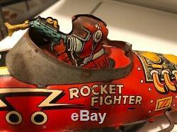 Vintage Marx Rocket Fighter Wind-Up Tin Toy Used