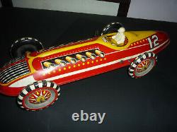 Vintage Marx Tin Litho Wind Up Indianapolis 500 Indy Race Car & Driver 16 Works