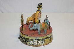 Vintage Marx Tin Litho Wind Up Ring-A-Ling Circus Pink Base Version Must L@@K