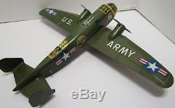 Vintage Marx Tin Wind Up Bomber Airplane Wow