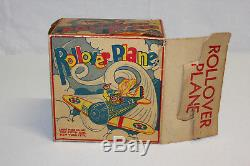 Vintage Marx Tin Wind Up Roll Over Plane Turn Over Airplane & Pilot withOB VG L@@K