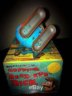 Vintage Marx Toys Hopping Dead-Eye Dick Wind Up Tin Toy With Original Box Mint