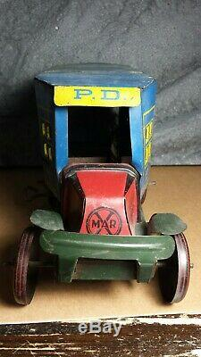 Vintage Marx Toys Police Patrol Truck Wind Up Good condition Motor works