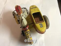 Vintage Marx Toys Wind Up Police Motorcycle With Side Car