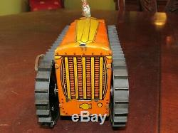 Vintage Marx Wind-up Tractor With Farmer, Tracks, Key & On/off Lever Excellent