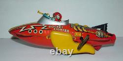 Vintage Marx Windup Flash Gordon Tin Rocket Fighter Signed By Buster Crabbe