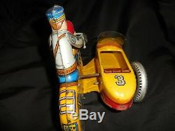 Vintage Marx Windup Police Motorcycle WithSide Car Works 9Great Condition