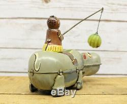 Vintage Mechanical Tin Happy Hippo Wind Up Toy By TPS Japan Rare Litho