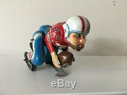 Vintage Mechanical Touchdown PETE Japan Tin Toy with Original Box Linemar works