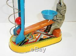Vintage Mechanism Key Circus Elephant Lift Balls German Wind-up Tin Toy Germany