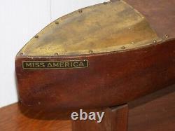 Vintage Mengel Playthings Miss America Wood Boat with Wind Up Propeller